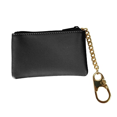 Royce Leather Slim Coin and Key Holder, Black, Gold Foil Stamping, Full Name