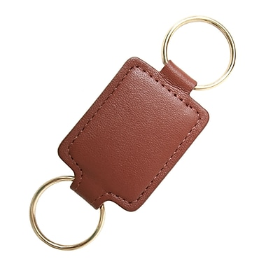 Royce Leather Valet Key Fob, Tan, Silver Foil Stamping, Full Name
