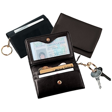 Royce Leather Wallet with Removable Key Ring, Black, Silver Foil Stamping, 3 Initials