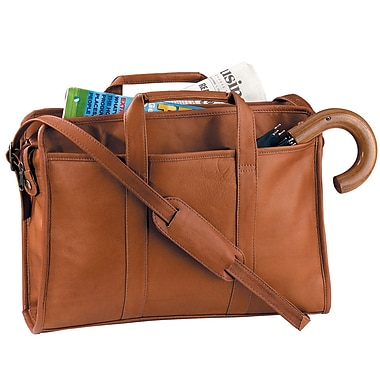 Royce Leather Soft-Sided Full Grain Cowhide Briefcase, Tan, Silver Foil Stamping, 3 Initials