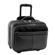 Royce Leather Rolling Laptop Briefcase Black