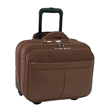 Royce Leather Rolling Laptop Briefcase, Brown, Silver Foil Stamping, 3 Initials