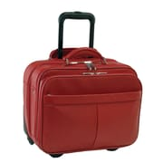 Royce Leather Rolling Laptop Briefcase Red