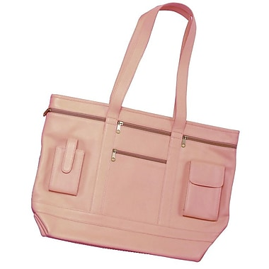 Royce Leather Business Tote in Genuine Leather, Carnation Pink, Silver Foil Stamping, 3 Initials
