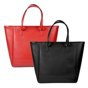 Royce Leather Charlotte Saffiano Tote Bag Black 655-BLK-2