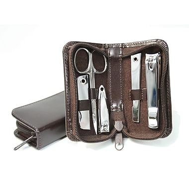 Royce Leather Aristo Mini Manicure Set, Chestnut Brown, Silver Foil Stamping, Full Name