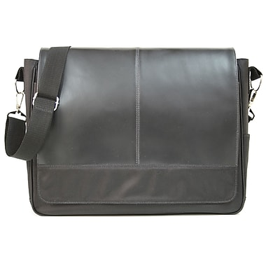 Royce Leather – Sac messager en cuir véritable, noir, estampage argenté, 3 initiales