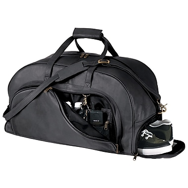 Royce Leather Travel Duffle Bag with Shoe Compartment, Black, Silver Foil Stamping, 3 Initials