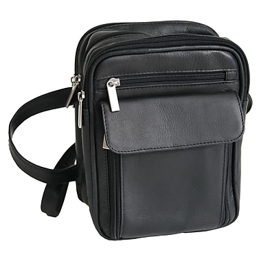 Royce Leather – Sac de transport pour hommes, noir, estampage or, 3 initiales