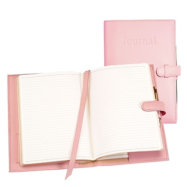 Royce Leather Handcrafted Cowhide Journal, Carnation Pink, Gold Foil Stamping, 3 Initials