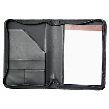 Royce Leather Zip Around Junior Writing Padfolio, Black, Silver Foil Stamping, Full Name