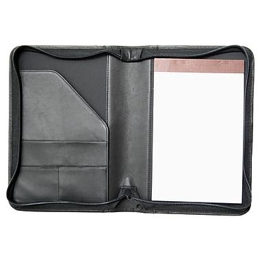 Royce Leather – Porte-document junior à fermeture éclair, havane, estampage or, nom complet