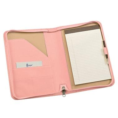 Royce Leather Zip Around Jr. Writing Padfolio Carnation Pink
