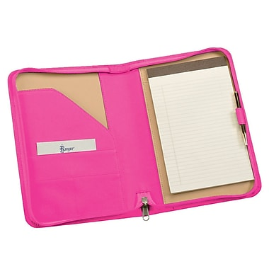Royce Leather Zip Around Jr. Writing Padfolio Wildberry