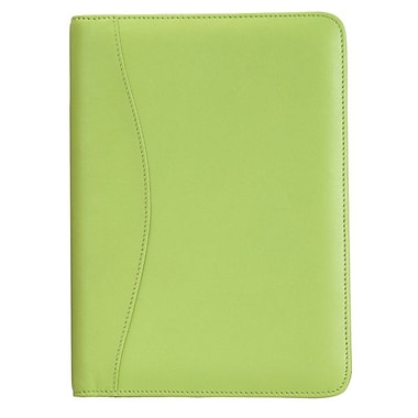 Royce Leather Junior Writing Padfolio, Key Lime Green, Silver Foil Stamping, 3 Initials
