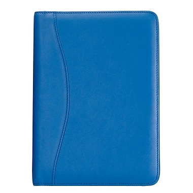 Royce Leather Junior Writing Padfolio, Royce Blue, Silver Foil Stamping, 3 Initials