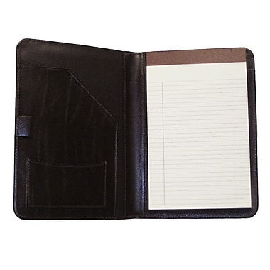 Royce Leather Junior Writing Padfolio II, Black, Silver Foil Stamping, 3 Initials