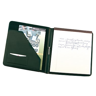 Royce Leather Deluxe Suede Lined Writing Padfolio, Green, Silver Foil Stamping, 3 Initials