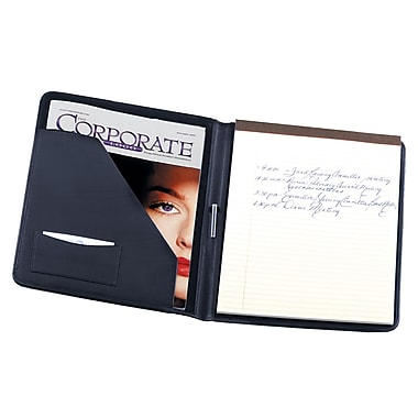 Royce Leather Writing Padfolio, Blue, Silver Foil Stamping, 3 Initials