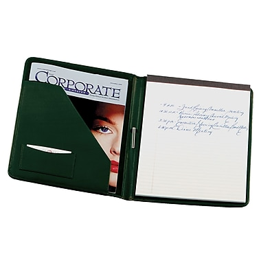 Royce Leather Writing Padfolio, Green, Gold Foil Stamping, 3 Initials