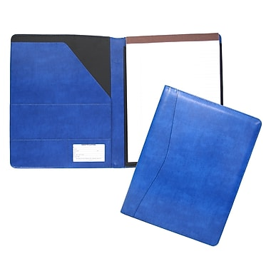 Royce Leather – Porte-documents Aristo, bleu Malibu, estampage argenté, 3 initiales