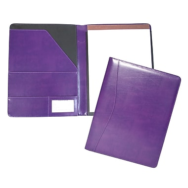 Royce Leather – Porte-documents Aristo, prune, estampage doré à chaud, 3 initiales