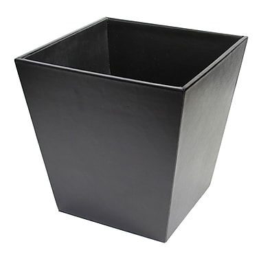 Royce Leather Executive Waste Paper Basket, Black, Silver Foil Stamping, Full Name