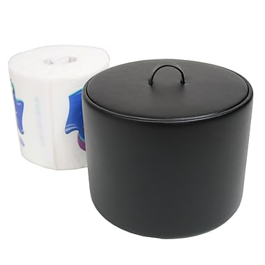 Royce Leather Toilet Tissue Paper Cover, Black