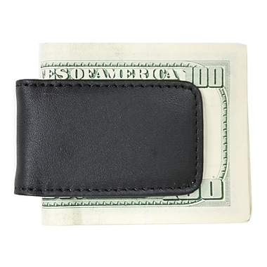 Royce Leather Classic Magnetic Money Clip, Black, Silver Foil Stamping, 3 Initials