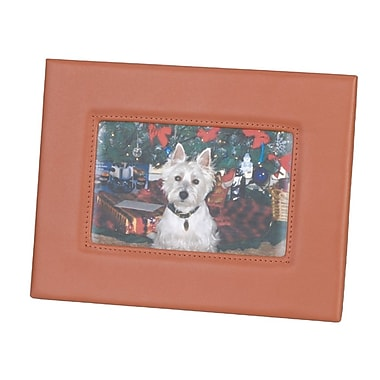 Royce Leather Deluxe Photo Frame, Tan, Silver Foil Stamping, 3 Initials