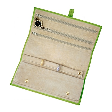 Royce Leather Suede Lined Jewellery Roll, Key Lime Green, Gold Foil Stamping, 3 Initials