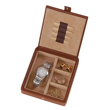 Royce Leather Suede Lined Leather Watch and Cufflink Box, Tan, Debossing, 3 Initials