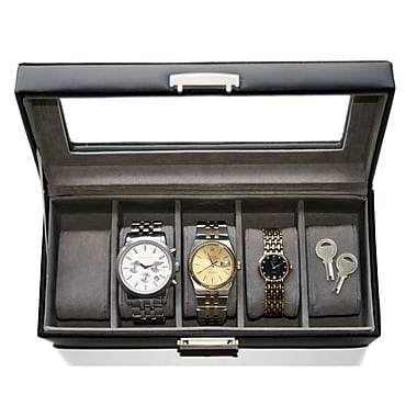 Royce Leather Watch Box, 5 Slot , Brown
