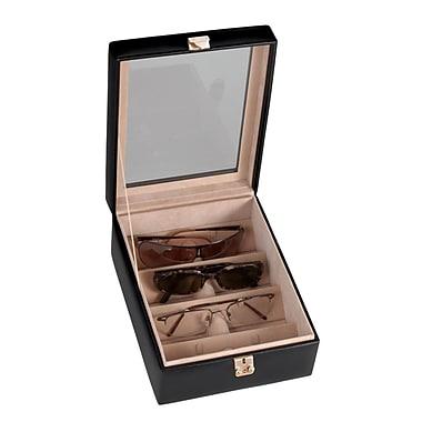 Royce Leather 4 Slot Eyeglass Box, Black