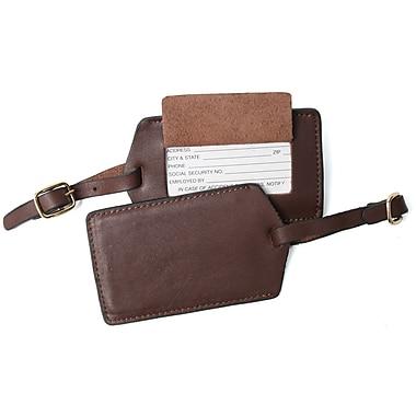 Royce Leather – Étiquette de bagage en cuir bovin pleine fleur, coco