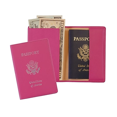 Royce Leather RFID Blocking Foil Stamped Passport Jacket, Wildberry, Silver Foil Stamping, Full Name