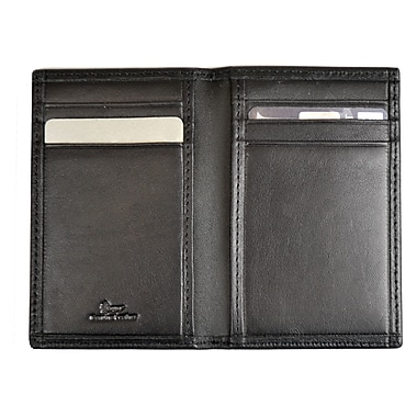 Royce Leather RFID Blocking Card Case, Black, Silver Foil Stamping, Full Name