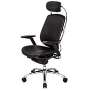 At The Office ONE Series Leather High-Back Executive Chair, Black