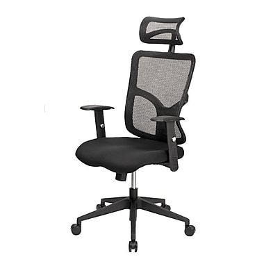 @theOffice® 2 LITE Series Fabric High-Back Executive Task Chair With Adjustable Arms and Back, Black