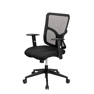 @theOffice® 2 LITE Series Fabric Mid-Back Executive Task Chair With Adjustable Arms and Back, Black