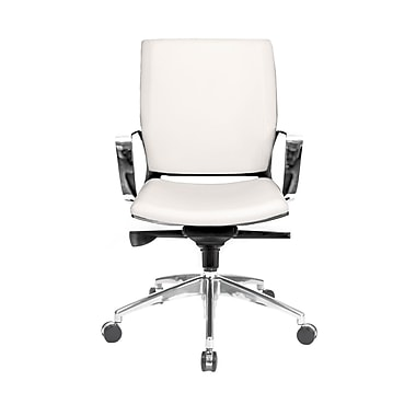 @theOffice® Series 11 Leather High Quality Mid-Back Conference Chair W/Locking Tilt Control, White Alterna