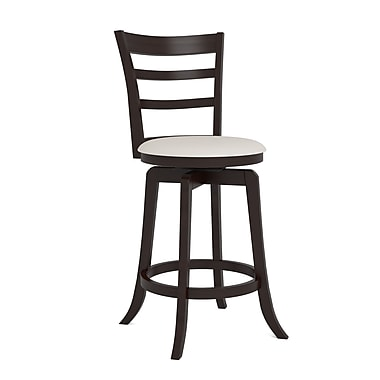 CorLiving™ Woodgrove Three Bar Design Wooden Barstools, Espresso Cream Leatherette