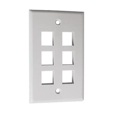 Calrad® 72 Series 6 Socket Keystone Wall Plate, White