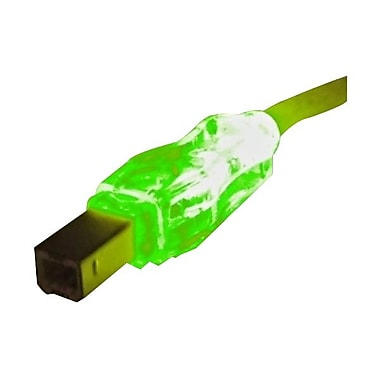 QVS® 10' USB 2.0 A/B Male Lighted Cable With Green LEDs, Translucent