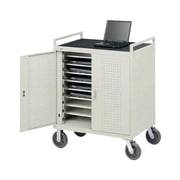 Bretford® 18 Units Welded Laptop Storage Cart With Front Electrical, Gray