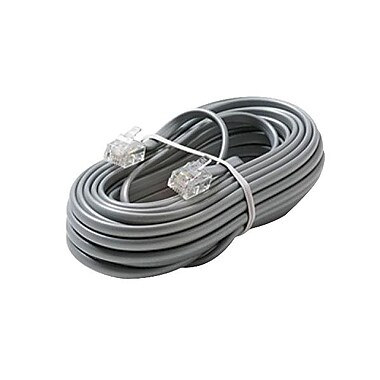 STEREN® 304-007SL 7' Modular Telephony Cord, Silver