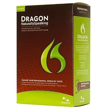 Nuance® Dragon Naturally Speaking v.12.0 Professional 1 User Software, Standard