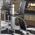 Bernards Astro Pub Barstool (Set of 4); Black/Silver