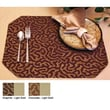 Pacific Table Linens Illusions Reversible Rectangle Placemat (Set of 2); Chocoloate / Light Gold