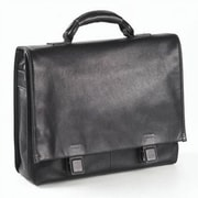 Clava Leather Tuscan Flap Briefcase in Black